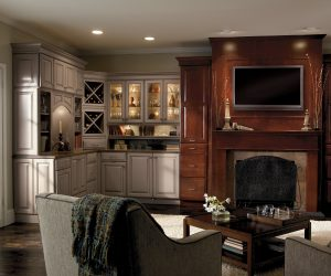 Custom Living Room With Built In Cabinets And Wet Bar Remodel By Bohan Contracting-min