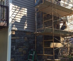General Remodeling of Outside of House Chimney Stone