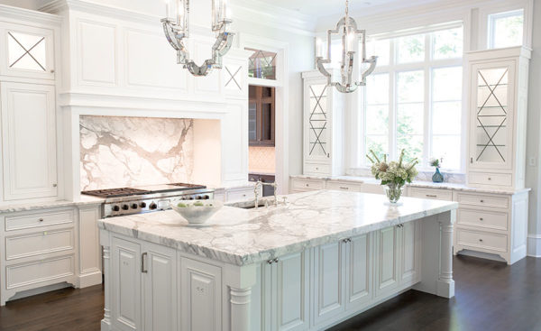White Marble kitchen with luxury island